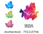 set of polygonal map blank on... | Shutterstock .eps vector #751115746