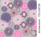 pattern with pink flowers and... | Shutterstock .eps vector #751118728