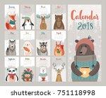 Stock vector calendar cute monthly calendar with forest animals 751118998