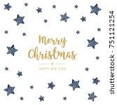 christmas golden greeting card...   Shutterstock .eps vector #751121254