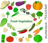 vegetables icons set in... | Shutterstock . vector #751121569