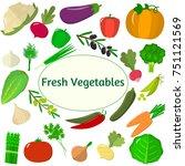 vegetables icons set in... | Shutterstock . vector #751121569