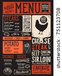 steak menu for restaurant and... | Shutterstock .eps vector #751123708