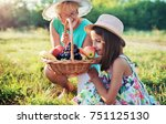 picnic time. little girl and... | Shutterstock . vector #751125130