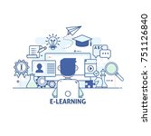 e learning  online education... | Shutterstock .eps vector #751126840