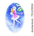 watercolor snow maiden ... | Shutterstock . vector #751129024