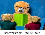 teddy bear with glasses learns | Shutterstock . vector #751131526