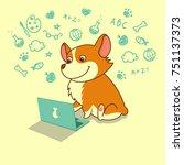 cute dog of welsh corgi... | Shutterstock .eps vector #751137373