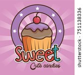 kawaii sweets and candies... | Shutterstock .eps vector #751138336