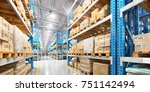 empty warehouse full of cargo.... | Shutterstock . vector #751142494