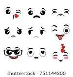 collection of cute emoji... | Shutterstock .eps vector #751144300