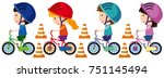 children riding bike with... | Shutterstock .eps vector #751145494