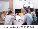 group of a young business... | Shutterstock . vector #751145749