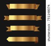 set of golden ribbons vector. | Shutterstock .eps vector #751148074