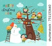 happy children celebrating... | Shutterstock .eps vector #751153660
