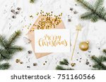 blank card with golden... | Shutterstock . vector #751160566