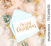 mock up card. christmas glass... | Shutterstock . vector #751160620