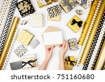 female hands hold mockup card... | Shutterstock . vector #751160680