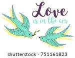 swift love birds vector hand... | Shutterstock .eps vector #751161823