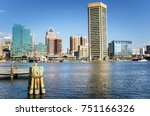 baltimore waterfront ona clear... | Shutterstock . vector #751166326