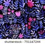 watercolor floral seamless... | Shutterstock . vector #751167244
