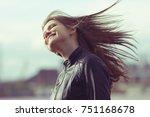 wind hair hairstyle hair...   Shutterstock . vector #751168678