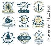 retro nautical labels  badges ... | Shutterstock . vector #751171030