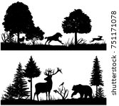 wild animals silhouettes in... | Shutterstock . vector #751171078