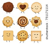 cute cartoon funny cookies ... | Shutterstock . vector #751171114