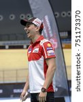 Small photo of KUALA LUMPUR, October 25th 2017 - Jorge Lorenzo in action Catalonia in promoting Sepang Circuit MotoGP 2017 during Badminton Friendly Match at the National Velodrome in Nilai.