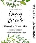 wedding invitation  floral... | Shutterstock .eps vector #751174156