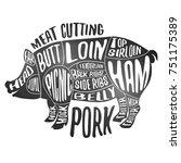 meat cutting   pork. white... | Shutterstock .eps vector #751175389