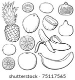 tropical fruit set  black and... | Shutterstock .eps vector #75117565