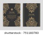 golden vintage greeting card on ... | Shutterstock .eps vector #751183783