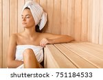 woman in the sauna | Shutterstock . vector #751184533
