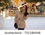 amazing cute woman in winter | Shutterstock . vector #751186948