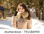 amazing cute woman in winter | Shutterstock . vector #751186954