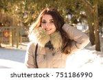 amazing cute woman in winter | Shutterstock . vector #751186990