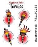 vector set of torches... | Shutterstock .eps vector #751192258