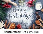 inscription happy holidays on... | Shutterstock . vector #751193458