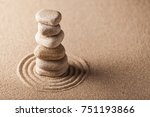 Zen Garden With Raked Sand And...