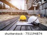 the safety helmet on... | Shutterstock . vector #751194874