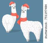 cute cartoon lama alpaca in... | Shutterstock .eps vector #751197484