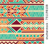 tribal ethnic colorful bohemian ... | Shutterstock .eps vector #751198108