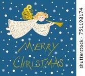 christmas angel on a blue... | Shutterstock .eps vector #751198174