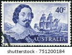 Small photo of AUSTRALIA - CIRCA 1966: Stamp printed in Australia showing the portrait of Dutch merchant Abel Janszoon Tasman and his ship Heemskerck, circa 1966. Abel Tasman is the first European to reach Tasmania.