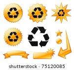 Recycle Symbol Icon On Orange...