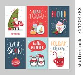set of cute merry christmas and ... | Shutterstock .eps vector #751204783
