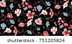 seamless floral pattern in... | Shutterstock .eps vector #751205824