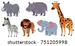 different kinds of animals on... | Shutterstock .eps vector #751205998